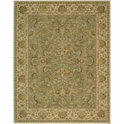 Nourison Parthia Olive Floral Wool Rug (5'3 x 8'3)