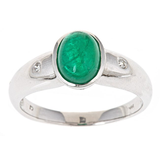 D'Yach 14k White Gold Zambian Emerald and Diamond Accent Ring