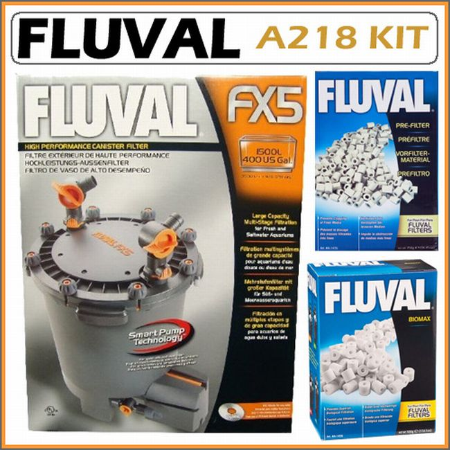 Fluval FX5 400 Gallon Freshwater/Marine Aquarium Canister Filter + Kit
