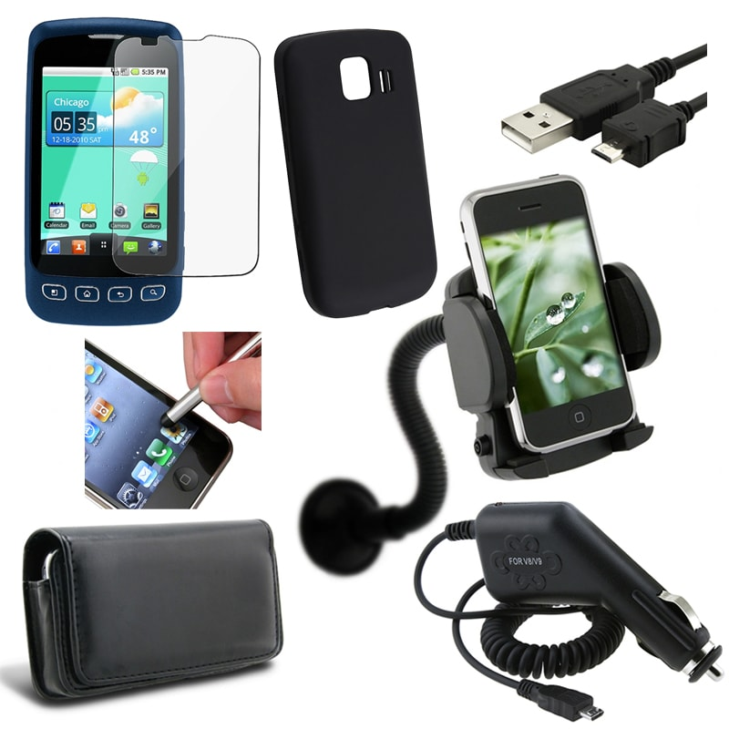 7 Accessory Case Holder/ Charger/ Stylus/ Cable for LG Optimus S LS670