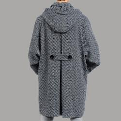 Nuage Women's Plus Size Black/ White Hooded Wool-blend Swing Coat
