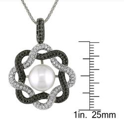 Miadora 18k White Gold 2 1/10ct TDW Black and White Diamond and Pearl Necklace (11-12 mm)(G-H, SI1)