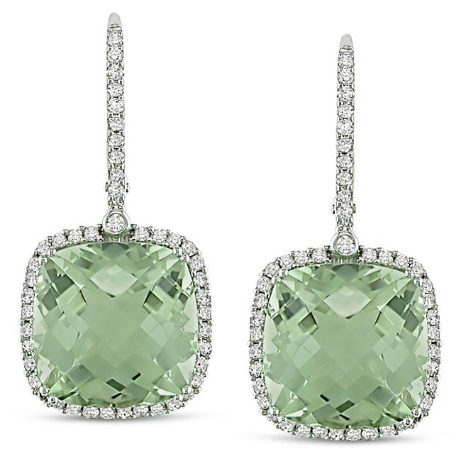 Miadora 14k Gold 22 2/5ct TGW Amethyst and 7/8ct TDW Diamond Earrings (G-H, SI)