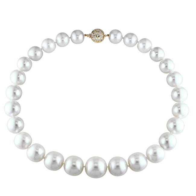 Miadora 14k Yellow Gold 1/10ct TDW Diamond and South Sea Pearl Necklace (15-19 mm)(I1-I2)