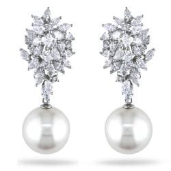 Miadora 18k White Gold 3 5/8ct TDW Diamond and Pearl Earrings (13.5-14 mm)(G-H,SI1-SI2)