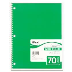 Mead WIDE MARGIN RULE 8 X 10 1/2 SPIRAL BOUND NOTEBOOK
