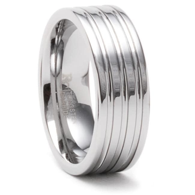 Men's Tungsten Carbide Triple-groove Wedding Band (8 mm)