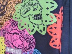 Handmade Medium Black Skeleton Cut-out Messenger Bag