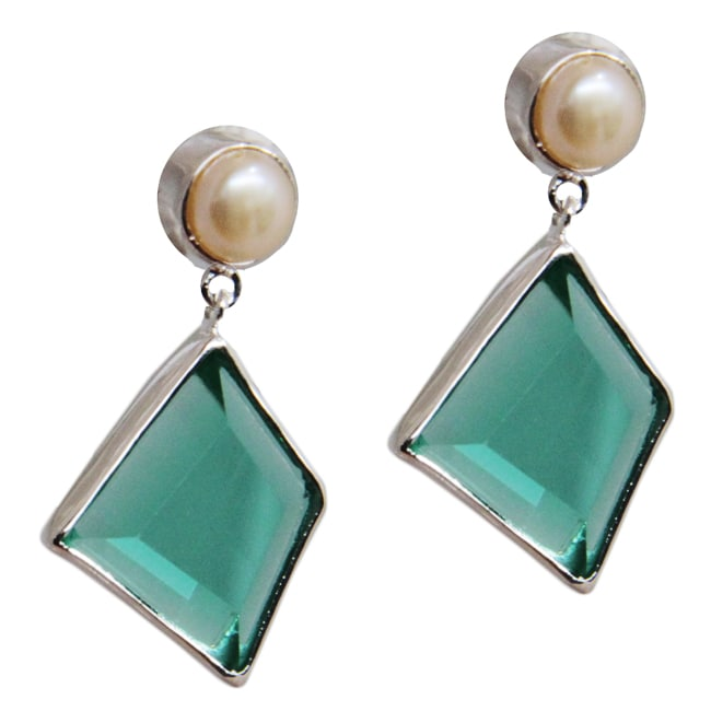 Eziba Collection Adee Waiss Sterling Silver Green Crystal and FW Pearl Earrings (7 mm) at mygofer.com