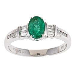 D'Yach 14k White Gold Zambian Emerald and 1/5ct TDW Diamond Ring (G-H, I1-I2)