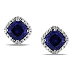 Miadora Sterling Silver Created Sapphire Stud Earrings