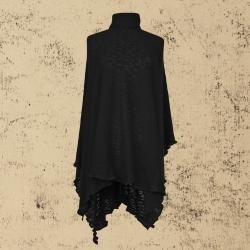 Black Organic Cotton Poncho