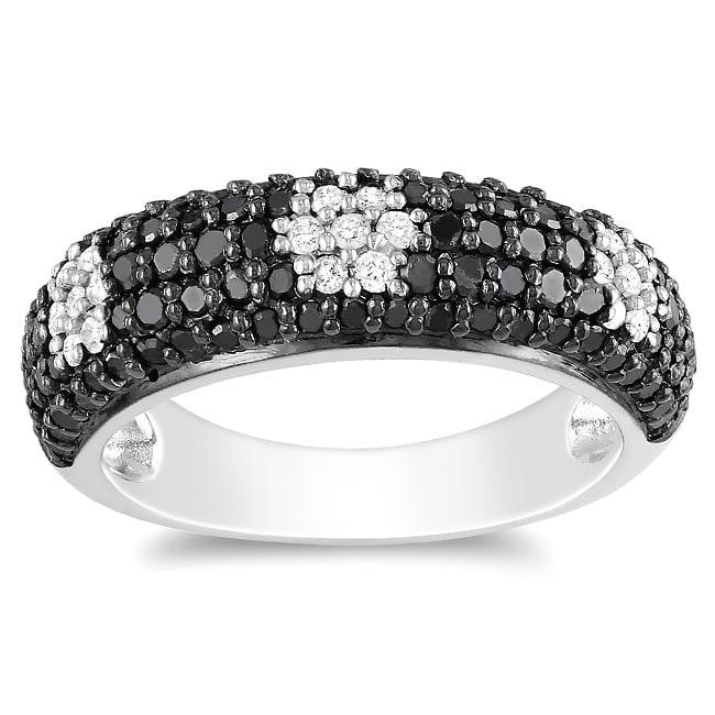 Miadora Sterling Silver 1ct TDW Black and White Diamond Ring (G-H, I2-I3)