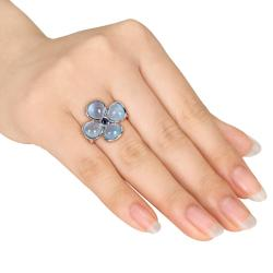 Silver Sapphire and Blue Chalcedony Flower Ring