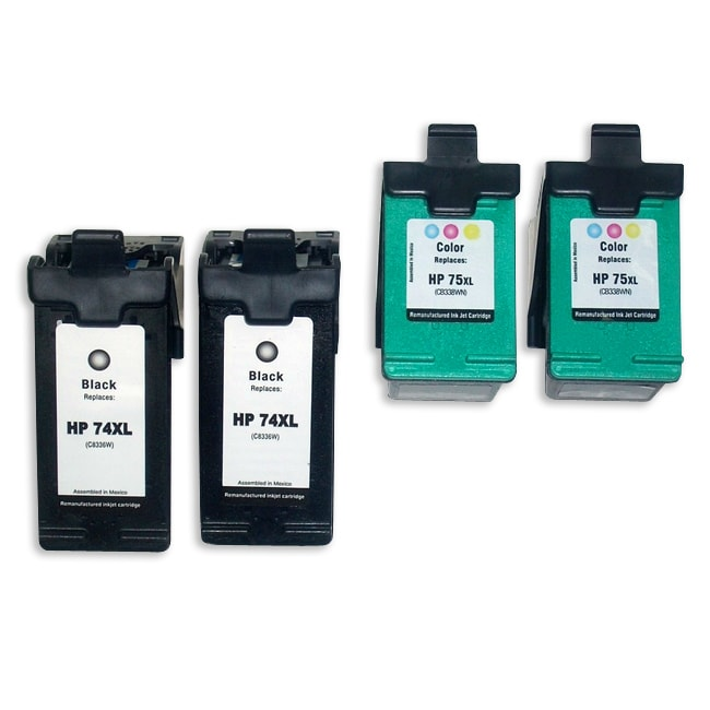 HP 74XL/75XL Black/Color Ink Cartridges (Remanufactured) (Pack of 4)
