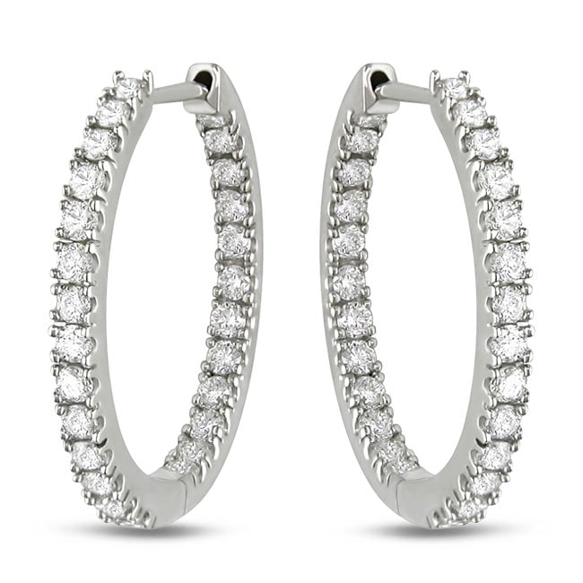 Miadora Signature Collection 14k White Gold 3/4ct TDW Diamond Hoop Earrings (G-H, SI1-SI2)