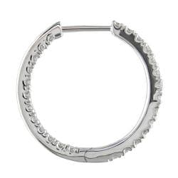 Miadora 14k White Gold 3/4ct TDW Diamond Hoop Earrings (G-H, SI1-SI2)