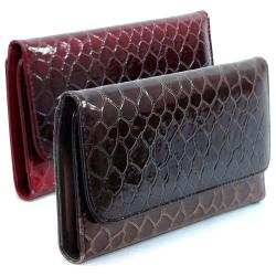 Faux Leather Embossed Snake Skin Checkbook Wallet