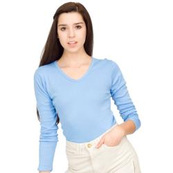 American Apparel Women's Small Baby Blue Cotton Ribbed V-neck Long-sleeve Tee