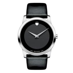 Movado Men's 'Museum' Black Leather Strap Watch