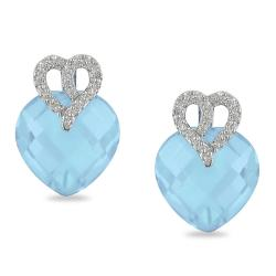 Miadora 10k White Gold Blue Topaz and Diamond Accent Earrings (G-H, I2-I3)