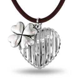Miadora White Brass Cord Hanging Flower Charm Heart Necklace