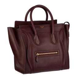 Celine Burgundy Mini Luggage Tote Bag - 13956661 - Overstock.com ...