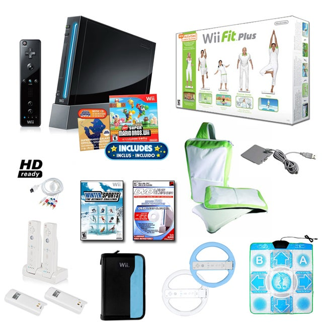 Nintendo Wii Black Super Mario Bundle with Wii Fit Plus and More