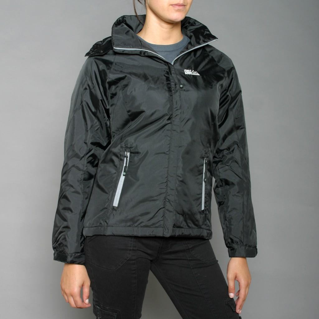 First Down Women's Black Hooded Tech Jacket