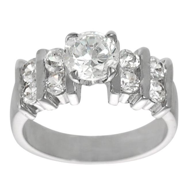 Silvertone Round-cut 2.9 mm Width Cubic Zirconia Ring