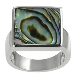 Silvertone Square-shaped Abalone Ring