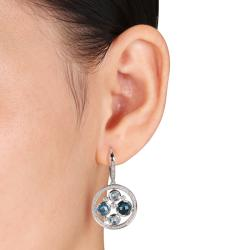 Miadora 14k White Gold 3 5/8 ct TGW Multi Topaz 3/4 ct TDW Earrings (G-H, SI1)
