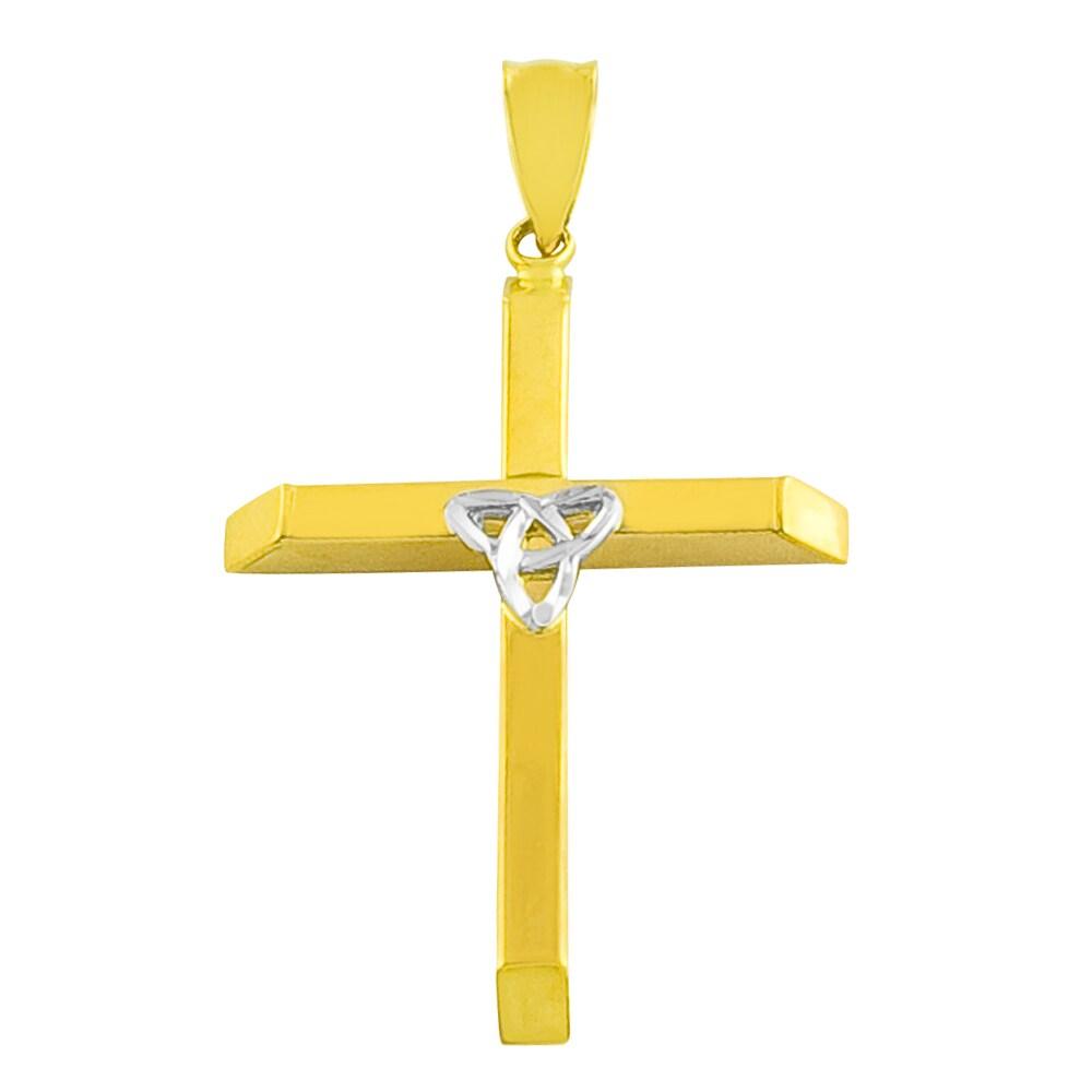 Fremada 14k Two-tone Gold Trinity Cross Necklace