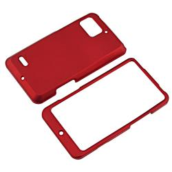 Red Snap-on Rubber Coated Case for Motorola Droid Bionic XT875