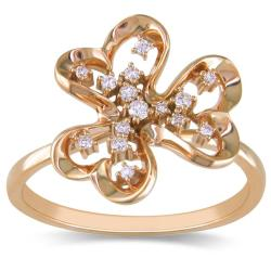Miadora 14k Pink Gold 1/10ct TDW White Diamond Ring (G-H, SI2)