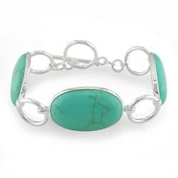 Miadora Sterling Silver Shape Turquoise Gemstone Bracelet