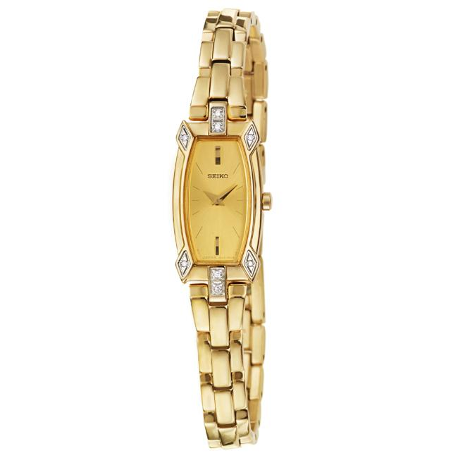 Seiko Women's 'Diamond' Yellow Goldplated Stainless Steel Diamonds Quartz Watch