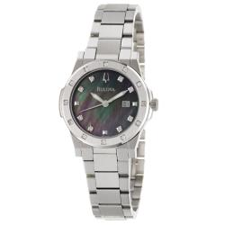 Bulova Women's 96R125 Diamond Black Mother of Pearl Dial Watch