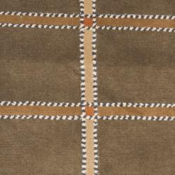 Hand-knotted Lexington Plaid Soft Green Wool Rug (2'3 x 10')
