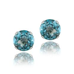 Glitzy Rocks Sterling Silver 3 1/5ct TGW London Blue Topaz 7-mm Stud Earrings