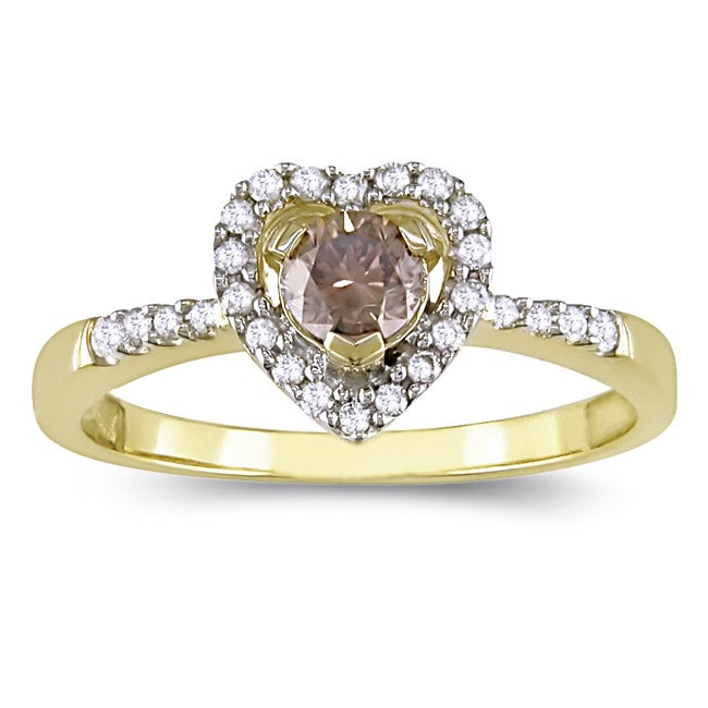 Miadora 14k Yellow Gold 1/2ct TDW Brown and White Diamond Heart Ring (H-I, I1-I2)