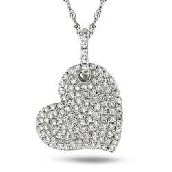 14k White Gold 1/2ct TDW Diamond Heart Necklace (G-H, I1-I2)