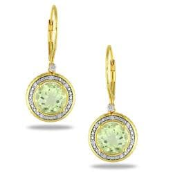 Miadora Silver Lemon Quartz 1/10ct TDW Diamond Earrings (G-H, I3)