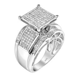 Sterling Silver 9/10ct TDW White Diamond Ring (Size 7.25)