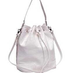 Dasein White Faux Leather Tall Drawstring Hobo Bag