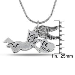 Miadora Silvertone Angel Hanging Wing Charm Necklace