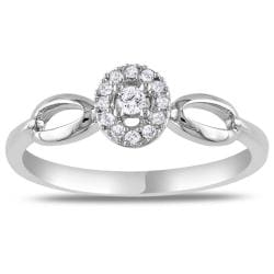 Miadora Sterling Sliver 1/10ct TDW Diamond  Halo Ring
