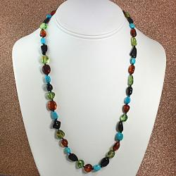Handtied MultiAmber And Turquoise Necklace (Lithuania)