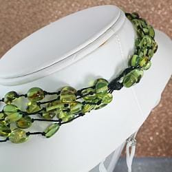 Handtied Multistrand Green Baltic Amber Nuggets Necklace (Lithuania)