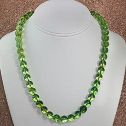 Handtied Green Baltic Amber Rounds Necklace (Lithuania)